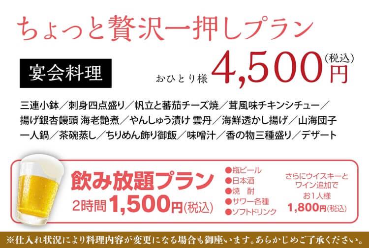 忘年会、新年会プラン 4500円