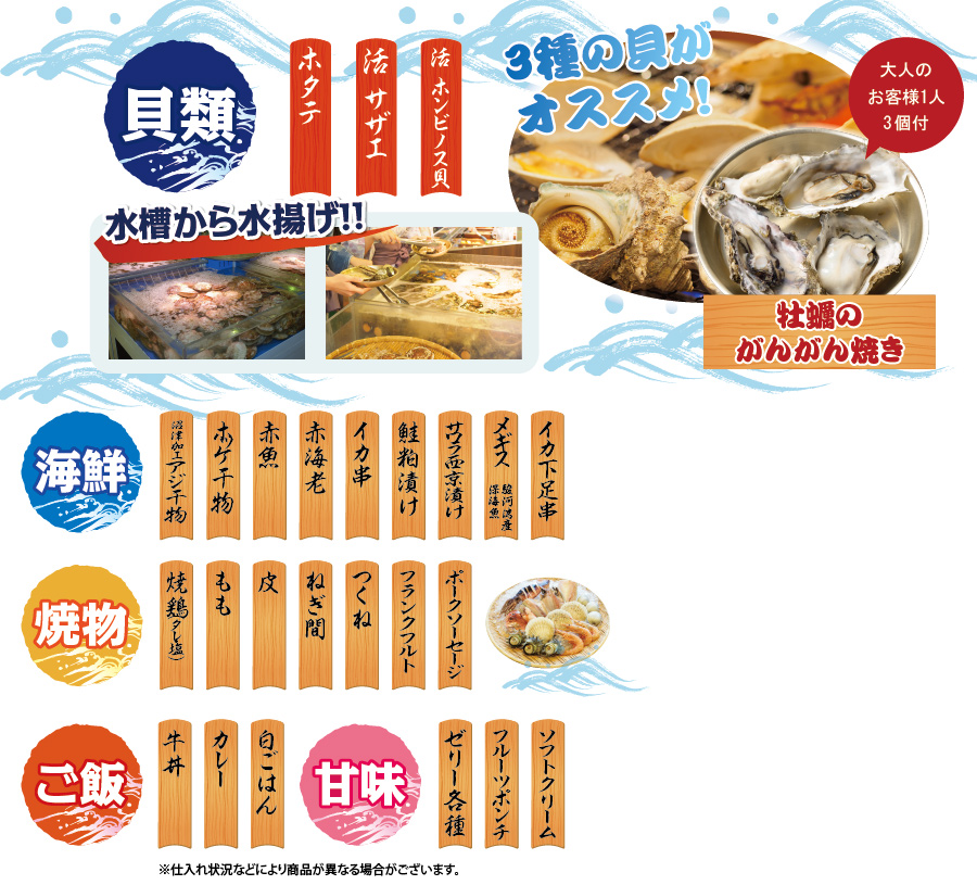 竜宮海鮮市場メニュー